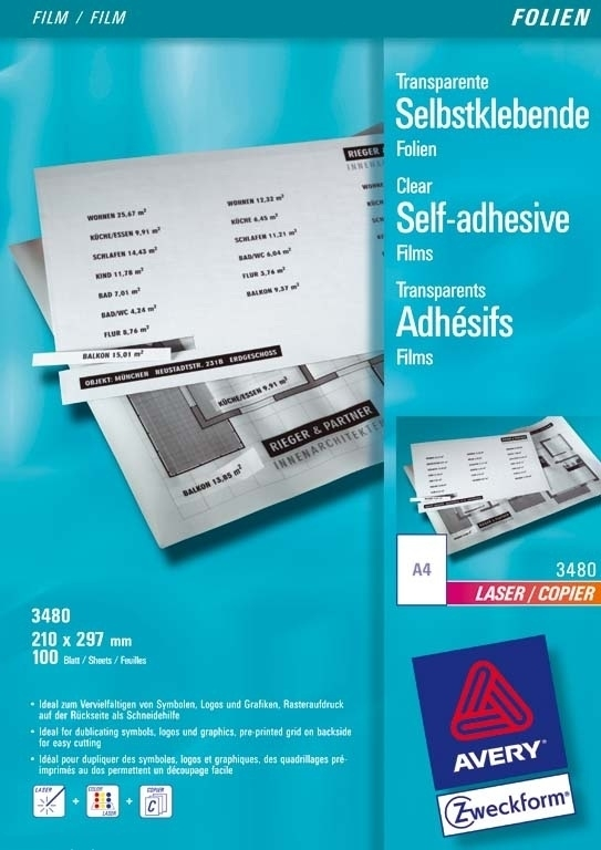 Folia Samop. Avery 210x297 1/A4 Transparent Laser No.3480 (1 szt.)