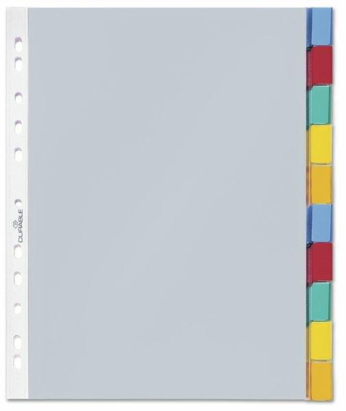 3c0bb0413659f Przekładki A4 PP 1-10 Indeksy Kolorowe Zgrzane Koszulki Przezroczyste   Durable 663219