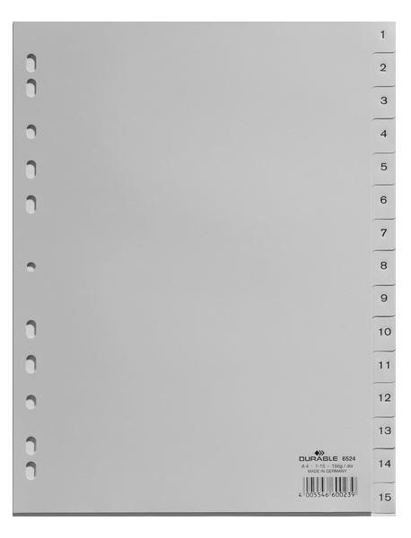 1fb369ddc6cb0 Przekładki do Segregatorów 1-15 PP A4 Szare  Durable 652410