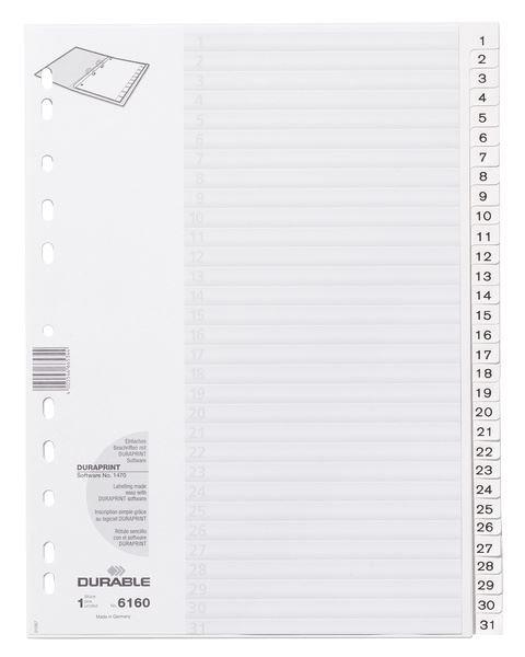 a798c95c05c4c Przekładki do Segregatorów 1-31 Strona Tytułowa PP A4 Białe  Durable 616002  ...