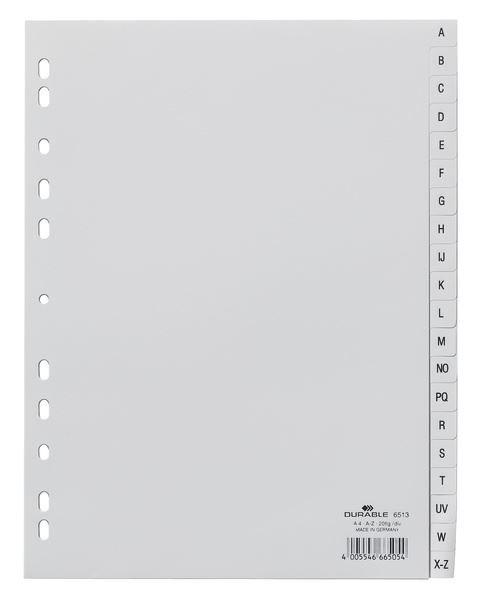 80c48dcc99921 Przekładki do Segregatorów A-Z (20) Alfabet Międzynarodowy PP A4 Szare   Durable 651310